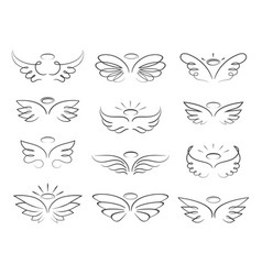 sketch angel wings in cartoon style vector image vector image