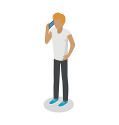 young man stands and talks over cellphone on white vector image vector image