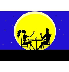 Cartoon silhouette of loving couple vector image vector image