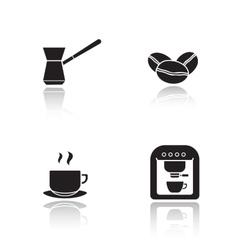Coffee appliances drop shadow icons set vector image vector image