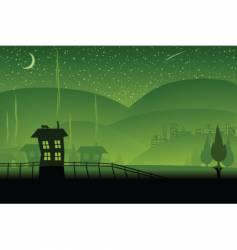 green hills vector image