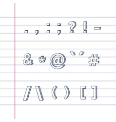 Hand drawn text symbols on lined paper vector image