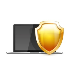 Laptop with Shield vector image vector image