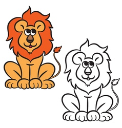 lion coloring book vector image