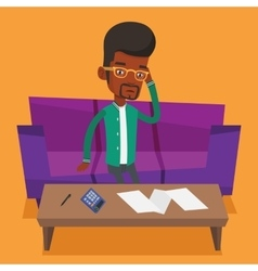 Unhappy african man accounting home bills vector image vector image