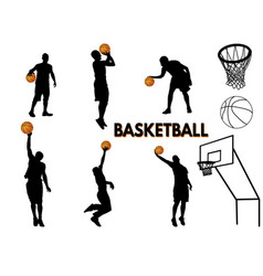 basketball players silhouette vector image
