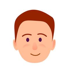brunette boy with smile close-up portrait flat vector image