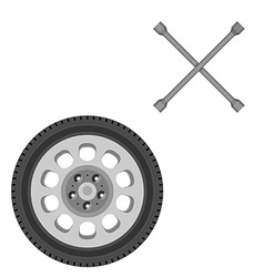 Car wheel and wrench vector image