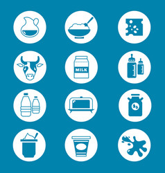 diary products milk icons set vector image vector image