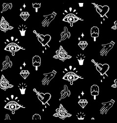 flash tattoo style black doodles seamless vector image vector image