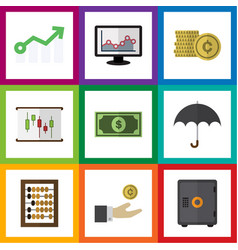 Flat icon gain set of counter parasol cash and vector