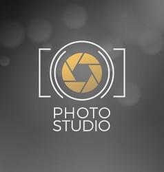 Photography logo design template retro badge photo vector