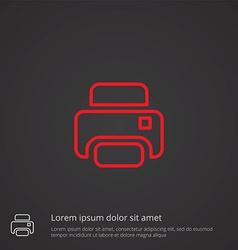 printer outline symbol red on dark background logo vector image vector image