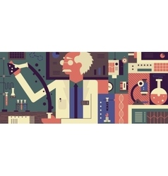 Scientist in laboratory background vector image