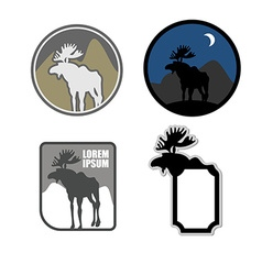 Set of icons logo moose Emblem for hunters or for vector image vector image