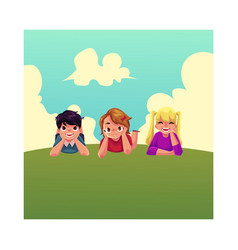 three happy children lying on green grass under vector image vector image