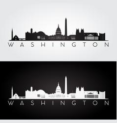 washington usa skyline and landmarks silhouette vector image