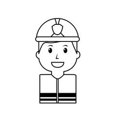 worker firefighter portrait cartoon with helmet vector image