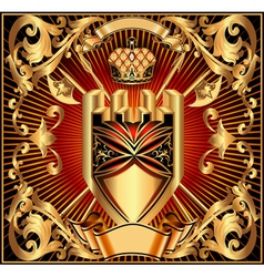 background with a gold shield vector image