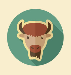 Bison buffalo ox flat icon animal head vector
