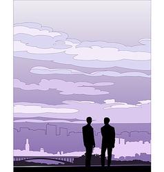 Businessmen negotiation silhouette vector image vector image