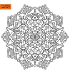 Coloring book page with mandala outline vector