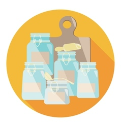 set of kitchen containers in flat style vector image