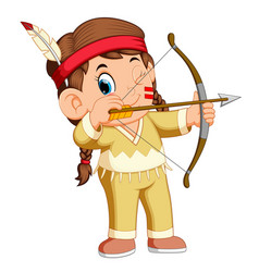 A girl american indian playing archery vector