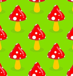 Amanita seamless pattern Red mushroom with white vector image