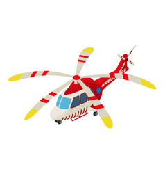 Ambulance helicopter icon isometric style vector