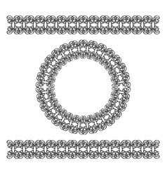 black scythian border and circle frame vector image vector image