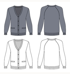Blank long sleeve grey raglan cardigan vector image
