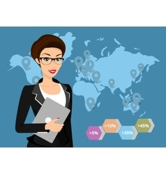 Business woman holds laptop in her hand vector