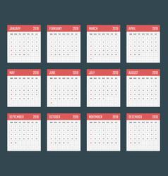 calendar for 2019 starts sunday vector image