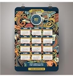 Cartoon doodles traveling 2017 year calendar vector image