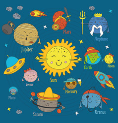 Cartoon funny solar system vector