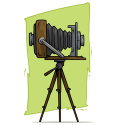 cartoon retro vintage camera on tripod icon vector image