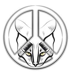 Cat and Peace Sign vector