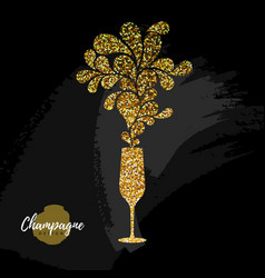 Champagne glass icon golden sparkle champagne vector