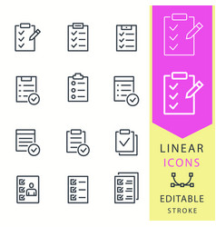 Checklist - line icon set editable stroke vector