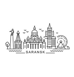 city saransk in outline style on white vector image