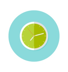 Clock Flat Circle Icon over Blue vector