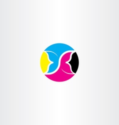 Cmyk printing icon butterfly logo symbol vector