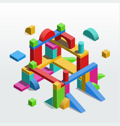 construction out toy unit blocks isometric vector image