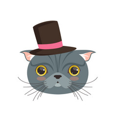 cute british cat wearing black top hat funny vector image