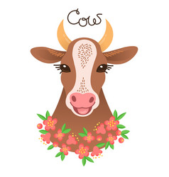 Cute cow portrait calf character in cartoon style vector