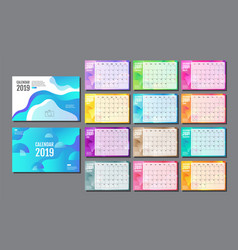 Desk calendar 2019 template layout annual vector