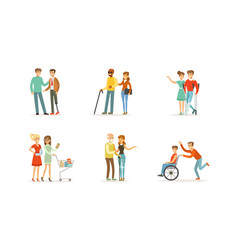 Disabled and old people and friends helping them vector