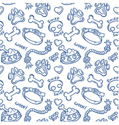 dogs stuff doodle seamless pattern vector image