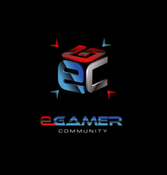 e gamer community logo symbol icon vector image